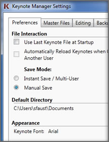 Keynote Manager Settings